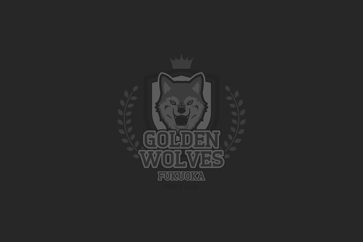 ゴールデンウルヴス福岡 ロゴ ブラック